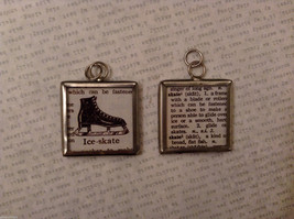 2 Sided Charm Tag Versatile Metal Glass - picture of Ice-skate w/ Definition