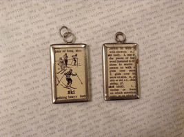 2 Sided Charm Tag Versatile Metal Glass- picture of Skiing Person w/ Definition