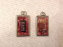 2 sided charm tag in metal frame vintage style - Love / Be mine, Boy and Girl