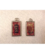 2 sided charm tag in metal frame vintage style - Love / Be mine, Boy and... - $9.00