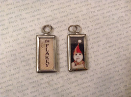 2 sided charm tag in metal frame vintage style - I'm flakey / Snowman head