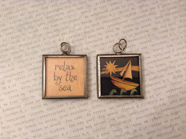 2 sided charm tag in metal frame vintage style - Relax by the sea/ Boat