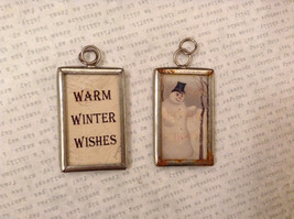 2 sided charm tag in metal frame vintage style - Warm winter wishes / Snowman