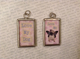 2 sided charm tag in metal frame vintage style - Love my dog / Love me - Dog