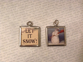 2 sided charm tag in metal frame vintage style - Let it Snow! / Snowman w/broom