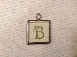 2 sided charm tag pendant in frame vintage style - Letter B Capital and Cursive