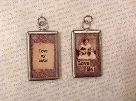 2 sided charm tag in metal frame vintage style - Love my cats /Girl with kittens