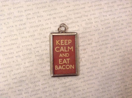 2 sided charm tag pendant in frame vintage style - Keep Calm and Eat Bacon