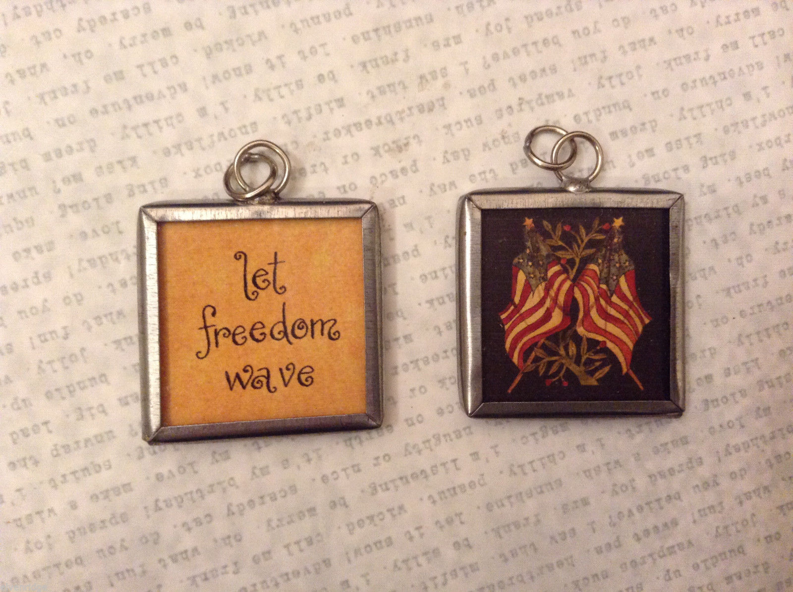 2 sided charm tag pendant vintage style- Let freedom wave/Crossed American flags