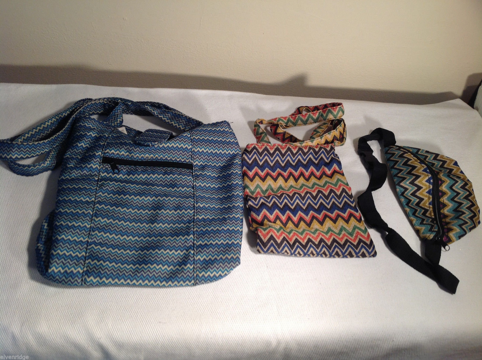 3 pc lot Calypso Studios fabric bags blue tote crossover bag belt pack