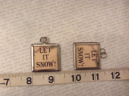 2 sided charm tag in metal frame vintage style - Let it Snow! / Snowman w/broom image 2