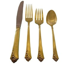 Damask Rose by Oneida Sterling Silver Flatware Service 12 Set Vermeil Gold - $3,600.00