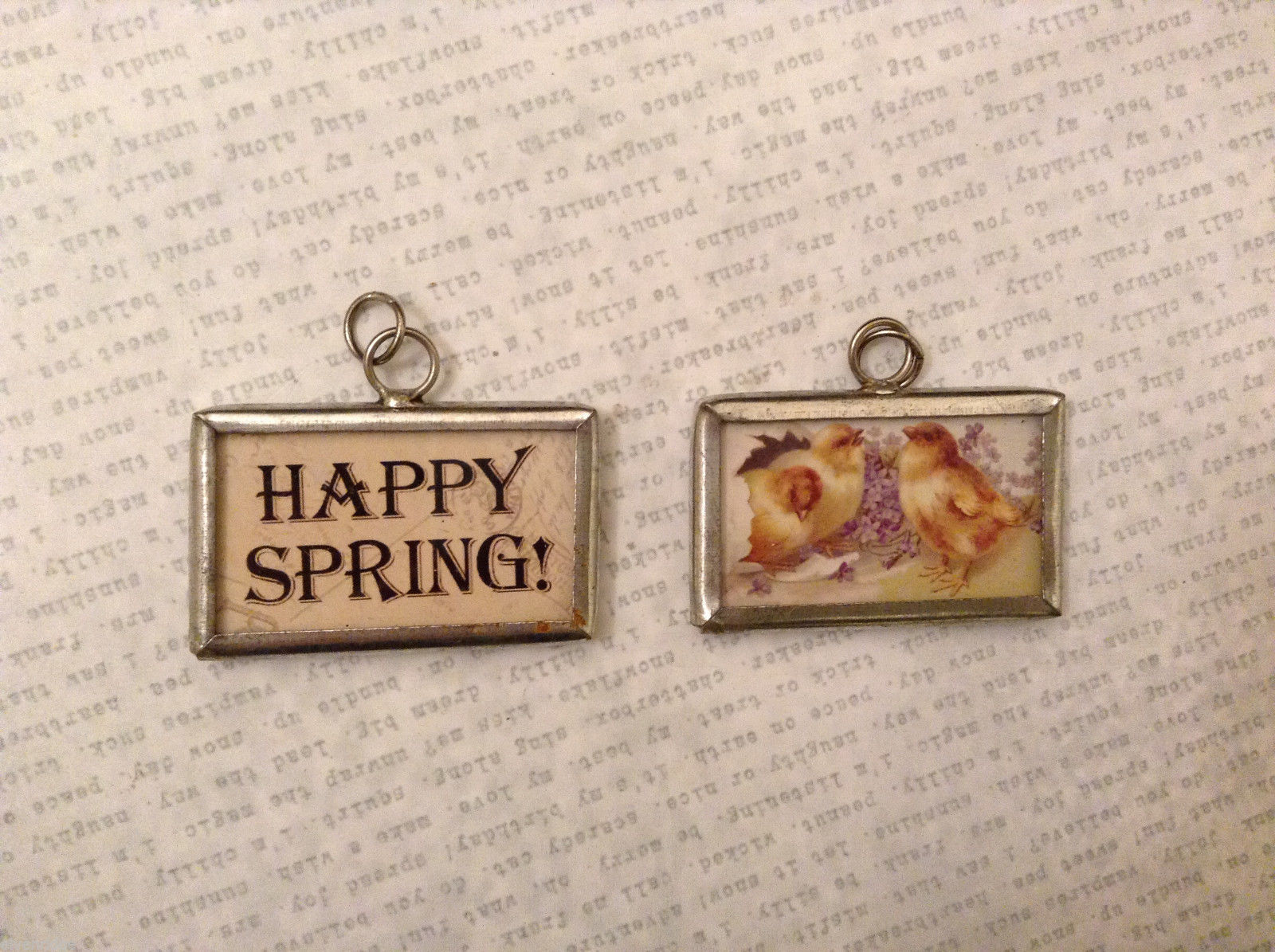 Easter 2 Sided Charm Tag Pendant - Happy spring / Chick flower basket stuffer