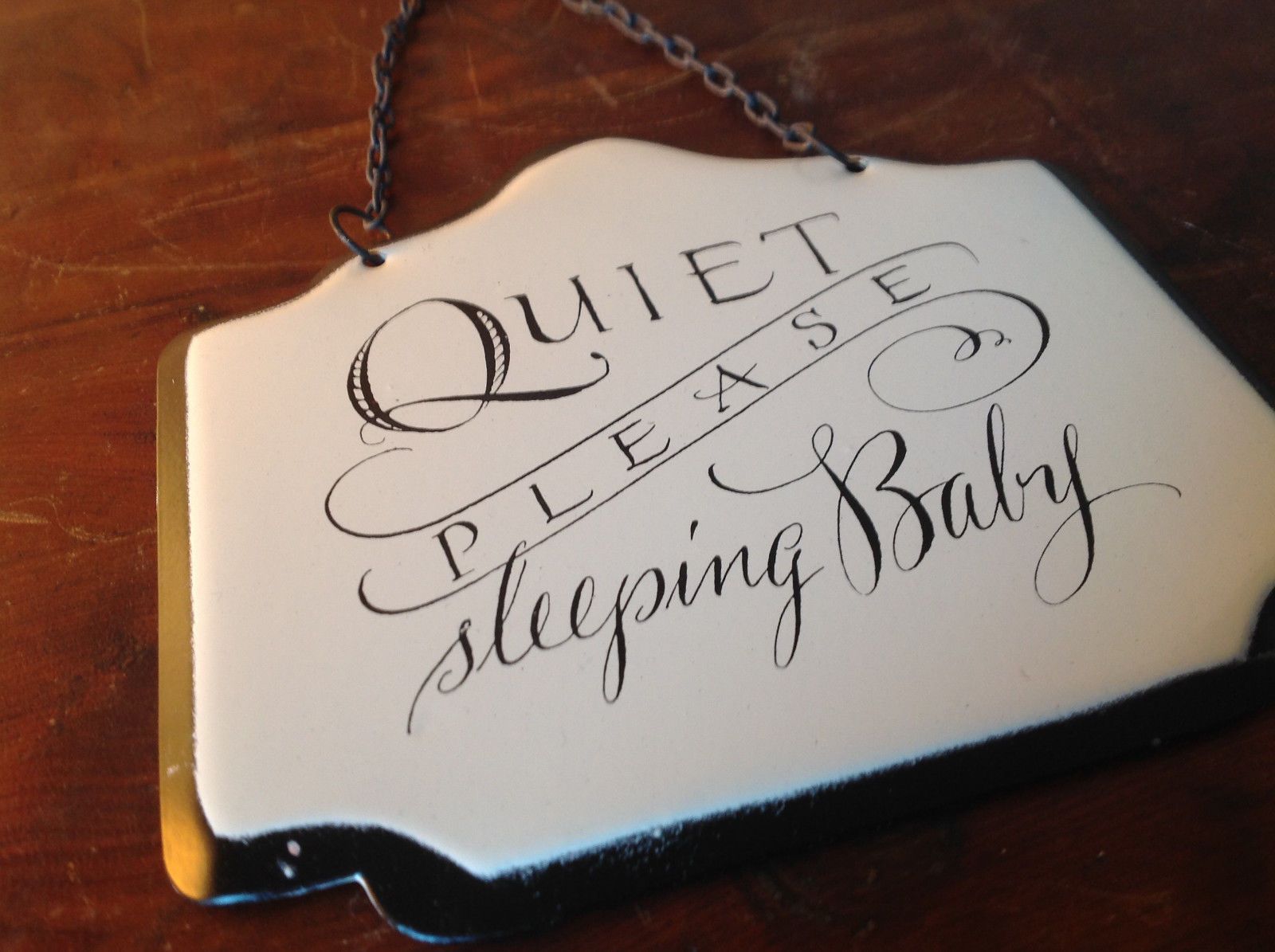 Enameled Metal Sign Quiet Please Sleeping Baby  Black Chain Ready to Hang