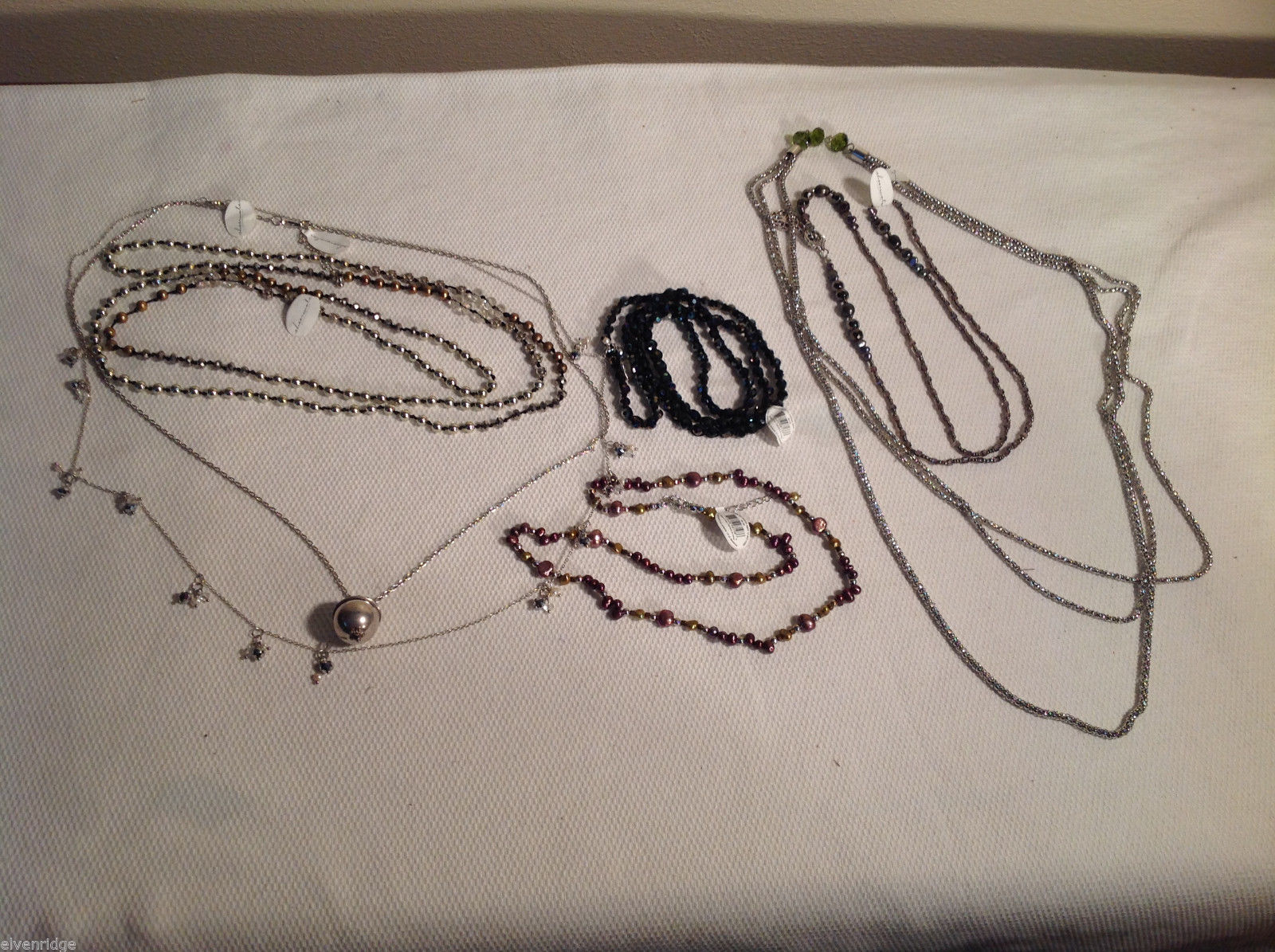 Lot of 7 Necklaces, beaded, dark, light, pendant, silver-tone, pearl Sheerwater