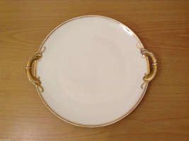 JHW Bavaria White Porcelain w/Gold Rim Serving Plate with Two Handles