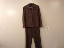 Rafaella Brown Jacket Pants Set, Size 6, Unlined, Polyester/Rayon/Spandex