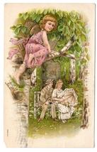 Valentine Romance Couple Lovers Cupid on Tree Branch Vntg 1908 Gilded Po... - $7.69