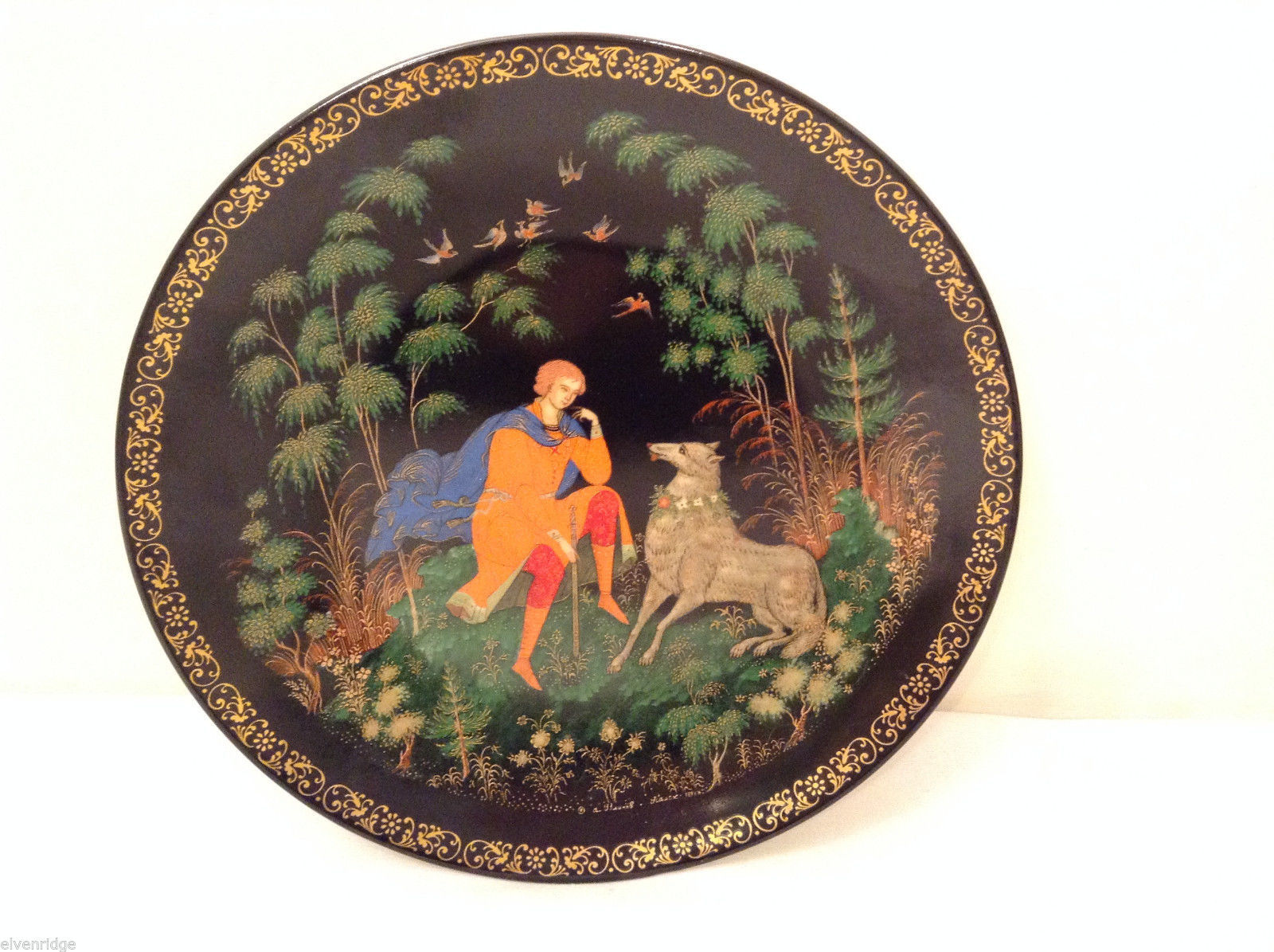 "Russian Collectible The Firebird Palekh Plate ""Tsarevich Ivan and Gray Wolf"" '92"