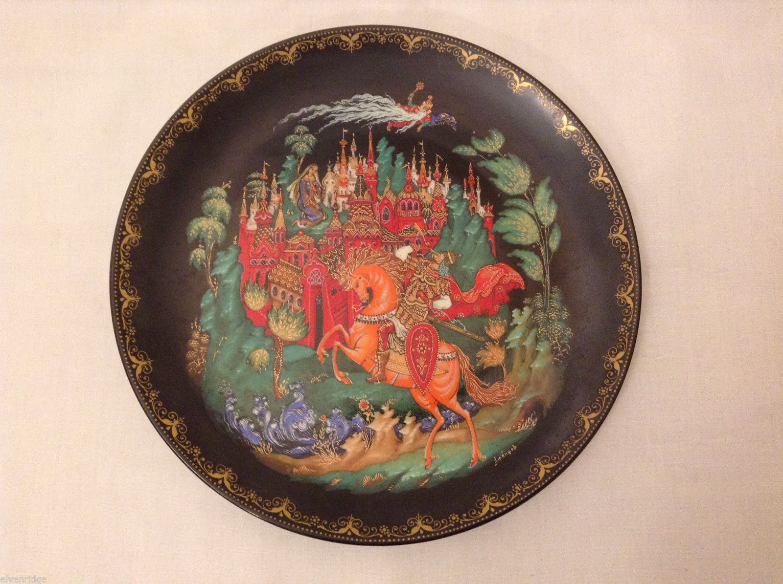"Russian Collectible Palekh Plate ""Ruslan and Ludmila"" by G.Lubimov  Signed 1988"