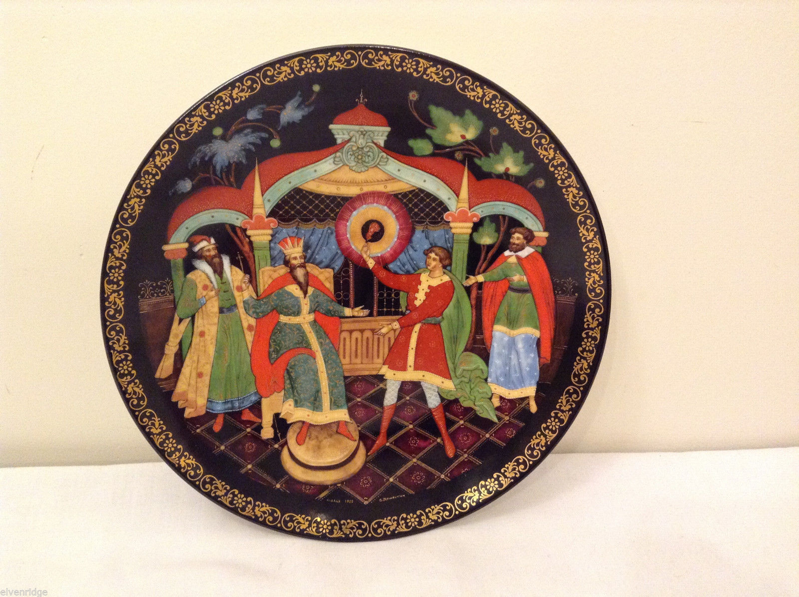 "Russian Collectible Palekh Plate ""The Firebird"" by A.Doshligin  Signed 1990"