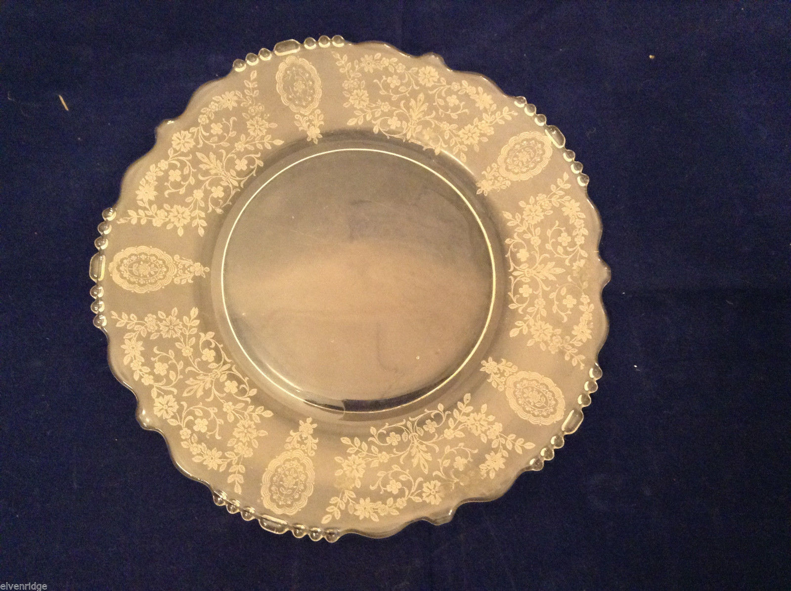 "Vintage Clear Glass Plate with Fostoria Floral Design 8-1/4"" diam."