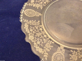 """Vintage Clear Glass Plate with Fostoria Floral Design 8-1/4"""" diam. image 2"""