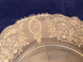 """Vintage Clear Glass Plate with Fostoria Floral Design 8-1/4"""" diam. image 3"""