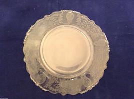 """Vintage Clear Glass Plate with Fostoria Floral Design 8-1/4"""" diam. image 4"""