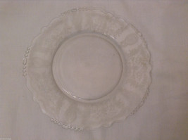 """Vintage Clear Glass Plate with Fostoria Floral Design 8-1/4"""" diam. image 7"""