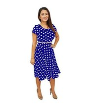 DBG Women's Short Sleeves Scoop Neck Polyester Dress (1X, Royal Blue Whi... - $35.63
