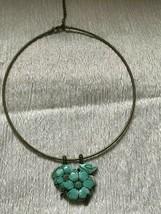 Estate Monet Signed Antique Goldtone Metal Collar Necklace w Large Carved Blue - $17.62