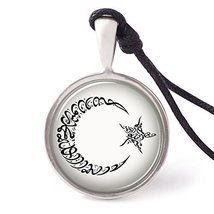 Vietsbay's Star Moon Islamic Calligraphy Necklace Pendants Pewter Silver - $9.99