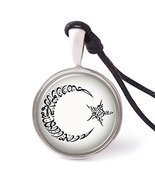 Vietsbay's Star Moon Islamic Calligraphy Necklace Pendants Pewter Silver - $188,17 MXN