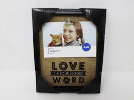 "Mainstays Love is a Four Legged Word Burlap 4"" x 6"" Photo Frame - New - $14.99"