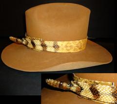 Rattlesnake hat Resistol cowboy diamond back Snake Mens size 7 camel col... - $225.00
