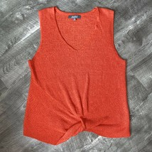 Marled Knit Red Top Sleeveless Sweater Twist XL - $56.26
