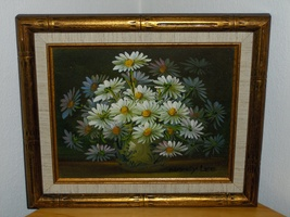 Nancy Lee Oil Painting Daisy Bouquet of Daisies Signed Ornate 13 x 11 - $79.00