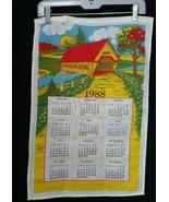 Vintage Linen Calendar Kitchen Tea Towel 1988 Covered Bridge   - $9.49