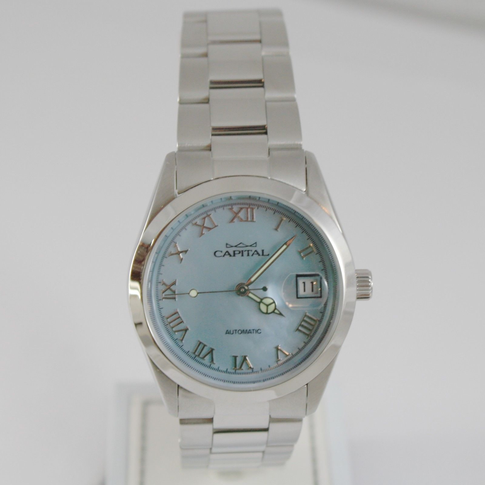 CAPITAL WATCH AUTOMATIC MOVEMENT 35 MM CASE WITH DATE, BLUE MOTHER OF PEARL