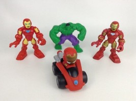 LOT (4) Marvel Avengers Toy Action Figures Iron Man The Hulk & Vehicle - $12.82