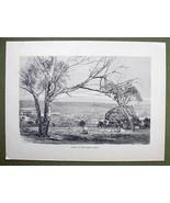 AUSTRALIA Valey of Yarra Yarra River - 1858 Antique Engraving Print - $12.38