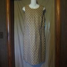 NWT Liz Claiborne Creme and Tan Print Career Party Dress CUTE Size Medium - $17.81