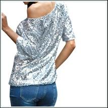 Silver Sparkling Sequined Shimmer Short Sleeve Off Shoulder Tank Tee Shirt Top image 2