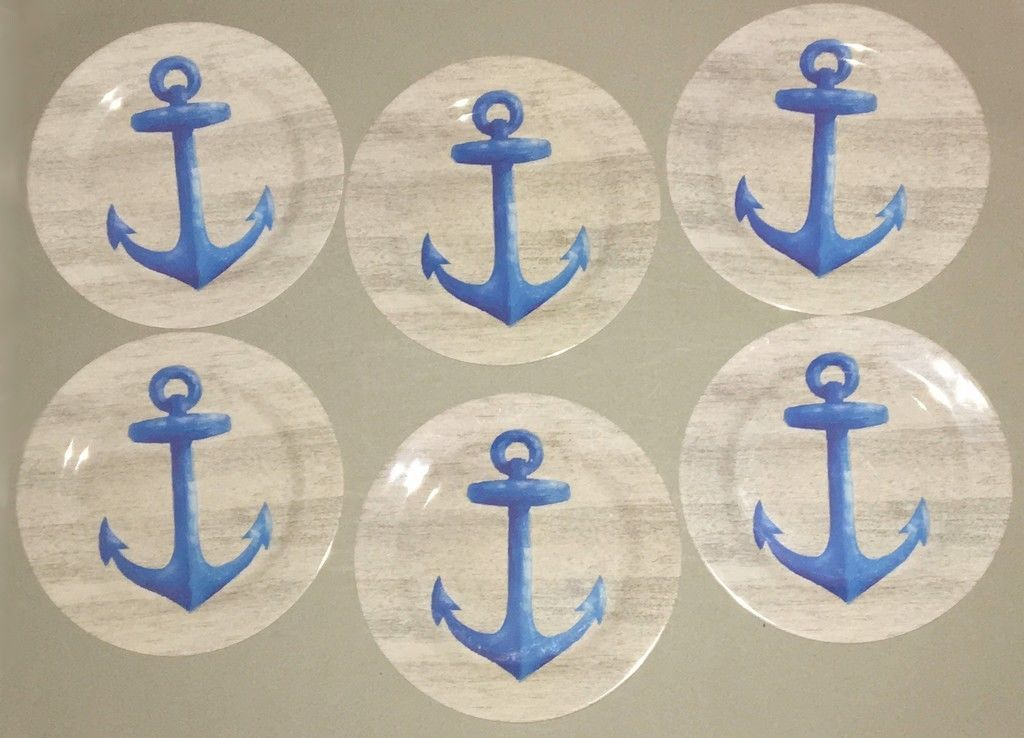 "Melamine ANCHOR Plates YOU CHOOSE NEW 8"" OR 10"" sets Beach House NEW"