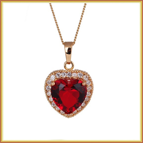 Ruby Red Crystal Heart Pendant & Clear Cubic Zircon 18K Yellow Gold Fill Mount