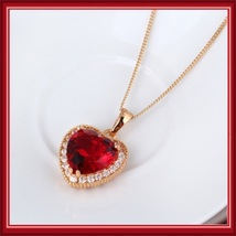 Ruby Red Crystal Heart Pendant & Clear Cubic Zircon 18K Yellow Gold Fill Mount  image 2