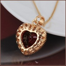 Ruby Red Crystal Heart Pendant & Clear Cubic Zircon 18K Yellow Gold Fill Mount  image 3