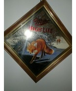 Vintage Miller High Life Beer SLY Red Fox   Mirror Diamomd  wood frame S... - $77.47
