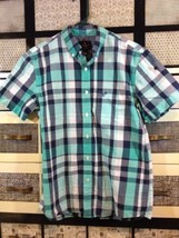 AMerican Eagle Outfitters Short SLeeve Button Down Plaid Shirt GReen BLu... - $8.65